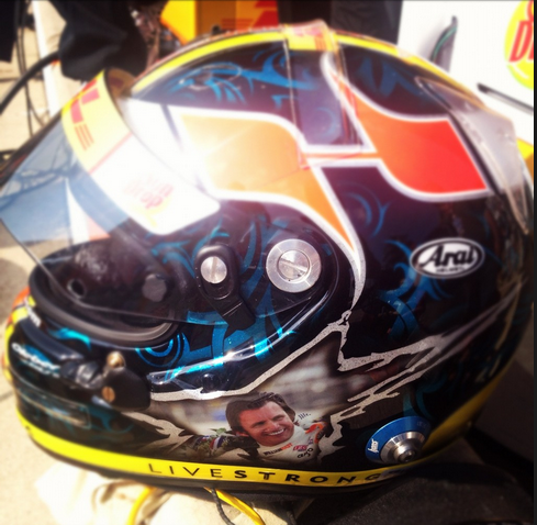 Ryan Hunter Reay's Indy 500 helmet honoring Dan Wheldon
